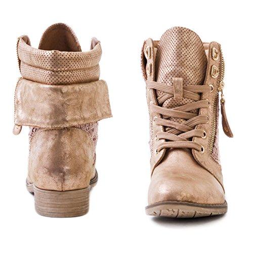 Boots 43 Bronze 脺bergr枚脽en Stiefeletten Trendboot Schn眉r Kurzschaft Lederoptik bis in Damen hochwertiger Marimo24 PxX7wAZqq