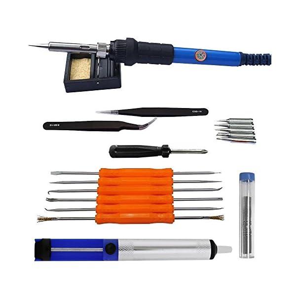Crazy Fire–Juego de soldador con 18pieza, 60W, 220V, con temperatura regulable 200–450°C, uso para distintas reparaciones