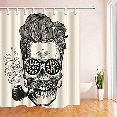 xuewu Vintage Gravur Bad Vorhang Hipster Schädel Silhouette mit Schnurrbart Polyester Stoff wasserdicht Duschvorhang für Badezimmer 180 * 180 cm