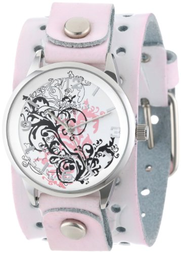 Nemesis Women's PTHR827P Classic Pink Plant Art Leather Cuff Band Watch