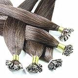 hair2heart 50 x 0.5g Echthaar Bonding Extensions, glatt - 40cm - #2 dunkelbraun, Keratin Haarverlängerung Bondings