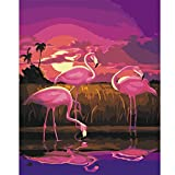 Wood Frame Ready to Hang, Diy Oil Painting Kit, Paint By Numbers for Adult,16 x 20 (Flamingo)