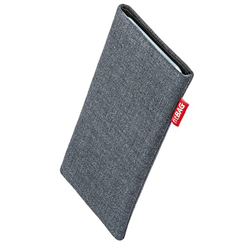 fitBAG Jive Grau Handytasche Tasche aus Textil-Stoff mit Microfaserinnenfutter für Apple iPhone 5 / 5s / SE 16GB 32GB 64GB | Hülle mit Reinigungsfunktion | Made in Germany