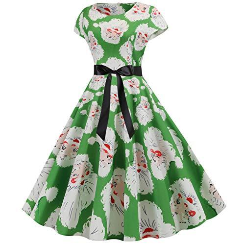 MarryoU Damen Vintage Weihnachten Kleid A-Line Cocktailkleid schöne Faltenrock Elegant Party Kleid ärmellose Print Festliche Abendkleid -