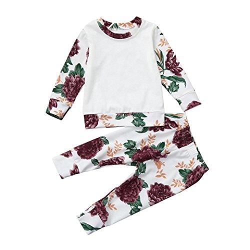 (Babymode Babykleidung Baby Klamotten für Mädchen Neugeborenen Baby Kinder Mädchen Floral T shirt Tops +Baby Hosen 2 stücke Outfits Neugeborene Kleidung Set (White, 80CM 12Monate))
