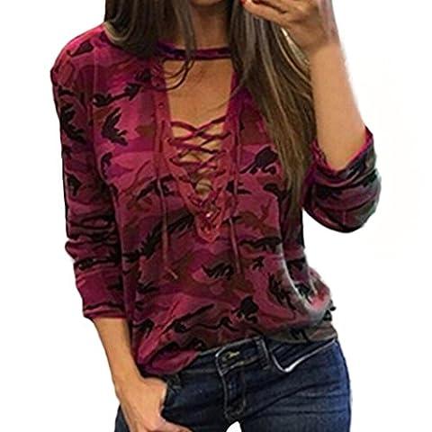 Damen Bluse Xinan Langarm Shirt Schlanken Lässige Print Top (XL, Rot)
