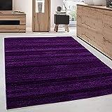 Moderner Wohnzimmer Jugendzimmer Teppich Kurzflor Lila Violette - 160x230 cm