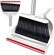 Broom and Dustpan Set Sweeper and Dust Pan Combo with 130cm Long Handle for Indoor and Outdoor Floor Cleaning