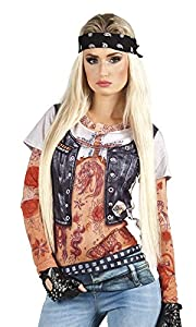 Boland 84251 photorealis tisches Camiseta Biker Girl, S