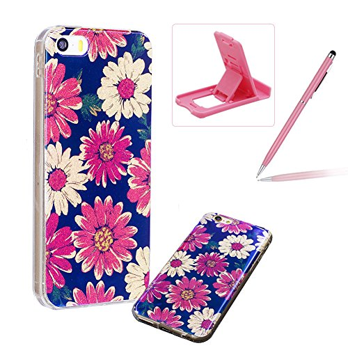 per iPhone 6 Plus/ 6S Plus Custodia case,Herzzer Mode Crystal Creativo Elegante lusso di Blu Glitter Bling stampato Quadro Dipinto Design shell,Ultra slim sottile morbido TPU Silicone Gel flessibile P Margherita