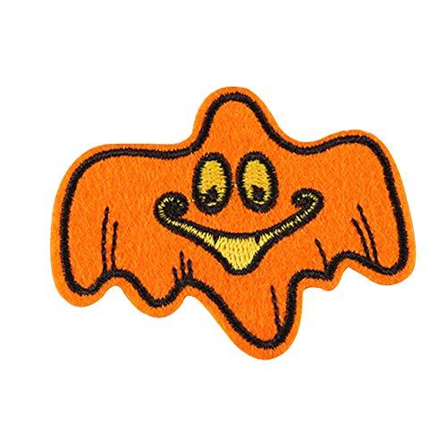 DaoRier 10pcs Kleidung Stoff Aufnäher Stickerei Orange Geist Nähen für DIY Halloween Kinder Kostüme