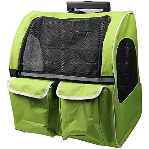 casa Monopoli Pet Bag Trolley / animale doppia cassa del carrello / animale Go Out zaino portatile Doggy - Verde