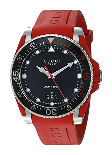 Gucci Unisex-Adult Analogue Classic Quartz Watch with Rubber Strap YA136309