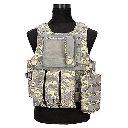 ktische Einsatzweste Militär Weste Outdoorweste Schutzweste Plattenträger Plate Carrier mit Verstellbarer Gurt Typ 6 (Taktische Weste Kostüm)