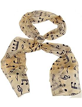 Acosta bufandas - de color marfil blanco con azul marino diseño de notas musicales - Accessory bufanda