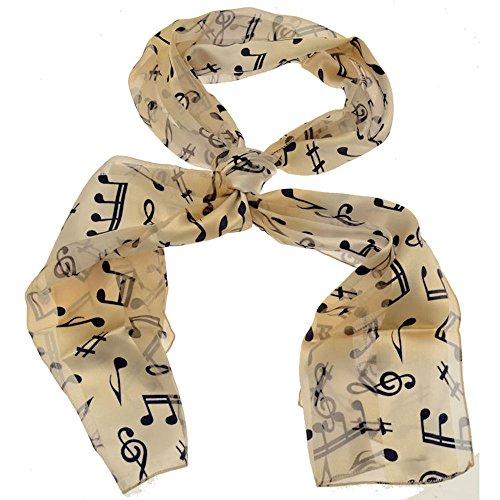 Acosta Jewellery Schals–Elfenbein Creme mit Navy Blue Musik Noten und Notenschlüssel Druck–Damen Mode Schal Zubehör–mit Weihnachten Geschenk Tasche