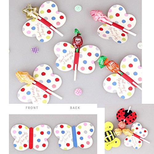 50 stücke Süßigkeiten Schokolade Lutscher Sticks Dekoration Papier Upxiang DIY Nettes Insekt Papier Xmas Party Kuchen Dekor (Schmetterling)