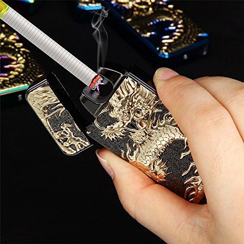 Kivors® Drache elektronisches Feuerzeug tragbar USB aufladbar dopple Lichtbogen tragbar -