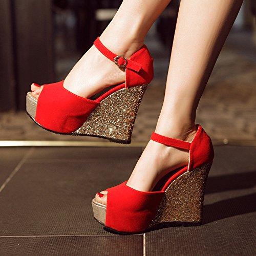 De KHSKX Paillette De Haut Rouge À DUne Sandales Talons Bouche La Mariage gules Étanches Pente Forme Plate Chaussures Les Avec Les Doux Chaussures Taiwan qw1qTZr