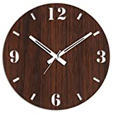 #2: Studio Shubham brown Wooden Wall Clock(26.5cmx26.5cmx3cm)