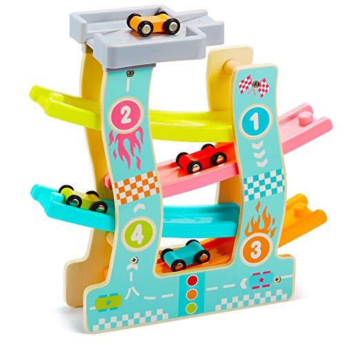 AGAKY Circuit en Bois à Voiture,Rampe de Course en Bois, Voiture en Bois Zig Zag avec Parking 6 * Voitures, Jouet de Bois, Cadeau de Jouet Educatif pour Tout-Petits (4 Pistes)