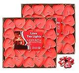 Adkwse rauchfreie herzförmige Kerzen, 100er (50 * 2) Teelichter, für Geburtstag, Vorschlag, Hochzeit, Party, Hochzeit Verlobung, Valentinstag (Rot)