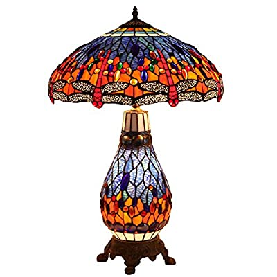 Bieye L30545 18-inches Dragonfly Tiffany Style Stained Glass Table Lamp with Metal Base, 26-inch Tall from Weaseller Inc.