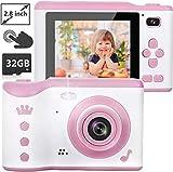 NEXGADGET Kinderkamera, 8MP Digitalkamera mit 2.8 Zoll Touchscreen / 32GB TF-Karte/Foto & Video/Rahmen/Filter, Mini Kamera für 3-12 jährige Kinder, Mädchen, Kinder Spielzeug/Geschenk