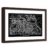 Feeby Cuadro Enmarcado marrón Amsterdam Imagen Mapa de la Ciudad Negro 90x60 cm