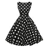 50er Vintage Kleider, Loveso ❤️ Damen Vintage Polka Dots A-Linie Ohne Arm Rockabilly Kleid Cocktailkleider Swing Kleider 1950er Retro Sommerkleid (Schwarz Z❤️, XL)