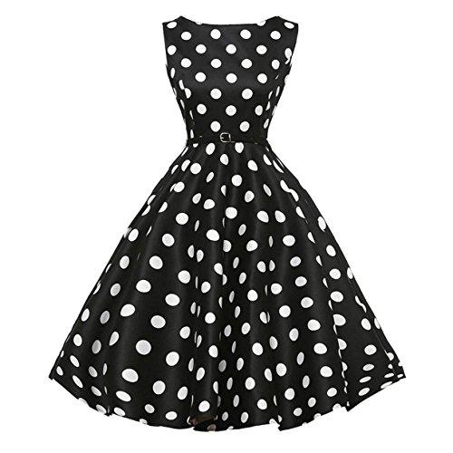Frauen Für 1950er-jahre-kleider (50er Vintage Kleider, Loveso ❤️ Damen Vintage Polka Dots A-linie Ohne Arm Rockabilly Kleid Cocktailkleider Swing Kleider 1950er Retro Sommerkleid (Schwarz Z❤️, M))