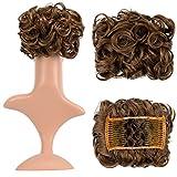 Feshfen - Extension di capelli corti ricci sintetici per chignon e coda di  cavallo 7cf8147a623d