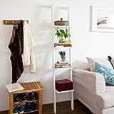 Modern ladder shelf made   of wood with four floors, stand shelf, wall shelf, 33x180cm FRG15-W (White)