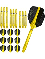 HARROWS Retina – Flights und Schäfte Combo Kit – 3 Sets (9) Standard Flights, 3 Sets Supergrip Wellen – gelb