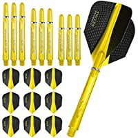 Gradas Retina - colas y cañas Combo Kit - 3 (9) vuelos estándar conjuntos - 3 ejes - Supergrip conjuntos amarillo