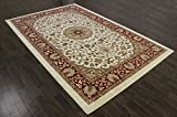 Alfombra de estilo tradicional persa, polipropileno, beige, 300X200 CM 9.8X6.6 FT