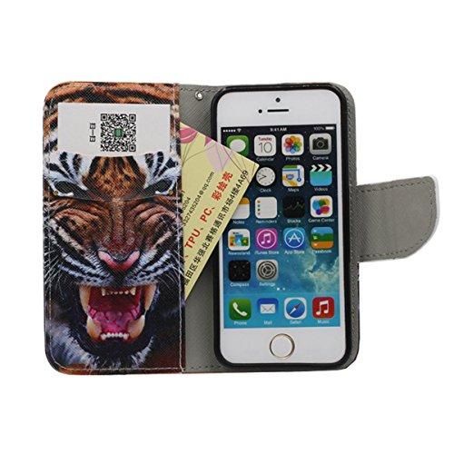 Portefeuille Bourse Rabat Coque Case de Protection pour iPhone 5 5S SE, Animal Naturel Imprimé Peinture Style - éléphant A1
