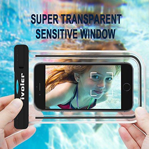 [Certifiée IPX8] Pochette étanche, [2 pièces] iVoler Pochette Sac étanche Universel Waterproof Case Bag Housse Coque Etui pour Apple iPhone 7, 7 Plus,6s / 6, 6s Plus / 6 Plus, SE 5S 5C, Samsung Galaxy Nior+Rose