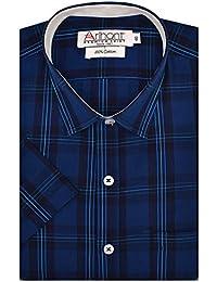 Arihant Men's Checkered Half Sleeves Reguler Fit 100% Cotton Formal Shirts
