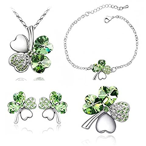 MJARTORIA Women's Silver Color Emeraldgreen Rhinestone Lucky Four Leaf Clover Pendant Necklace, Bracelets, Earrings and Brooch