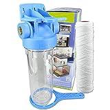 GPV-AT1Y. 10 Zoll Pumpen- Vorfilter Wasserfilter für Hochdruckreiniger, Hauswasserwerk, Garten Pumpen, Schmutzfilter, Sandfilter, Teichfilter, Wasserdurchfluss bis 5.000 l/h Anschlussgewinde IG-1 Zoll, Faser Filtereinsatz 10 Zoll