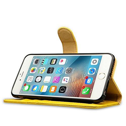 Etui iPhone 6 Plus 5.5, Labato Housse de Protection Portefeuille coque en Cuir pour Apple iPhone 6 Plus / 6S Plus 5,5 pouces Stand Case Support Fermeture Magnétique (Rose) Jaune