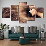 ZGFFCP 5 Panel leinwand gemälde schöne Haare Sloan Make-up Nail Art Poster leinwand wanddruck und Bild Wohnzimmer Art, 20x35(2piece) 20x45(2piece) 20x55(1piece)(cm)