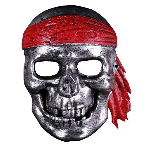 YaPin Halloween Taro Warrior Maske Karibik Piraten Maske Horror Halloween Maske Retro Full Face Männer (Color : Antique Silver)