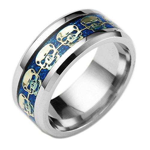 Herren Blau Drop Glue Steel Ring Glanz Golden Skull Band Ring For Hochzeit Engagement Größe 13 (Hochzeit Band Ring-sizer)