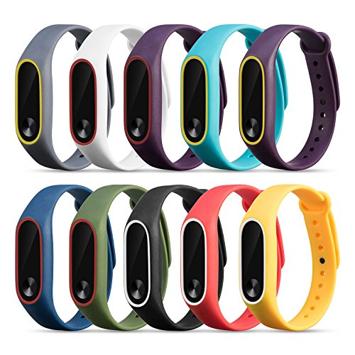 FUNKID Band per Xiaomi Mi Band 2 Polso Cinturino di Ricambio per Mi2 Braccialetto (10 Colori)