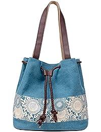 BYD - Mujeres Canvas Bucket Bag Bolsos bandolera School Bag with PU cuero Strap with Printed Flower Design
