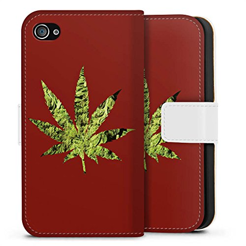 Apple iPhone X Silikon Hülle Case Schutzhülle Hanfblatt THC Marihuana Sideflip Tasche weiß