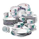 VEWEET Olina Juegos de Vajillas 60 Piezas de Porcelana con 12 Taza 175 ml, 12 Platillos, 12 Platos, 12 Platos de Postre y 12 Platos Hondos para 12 Personas