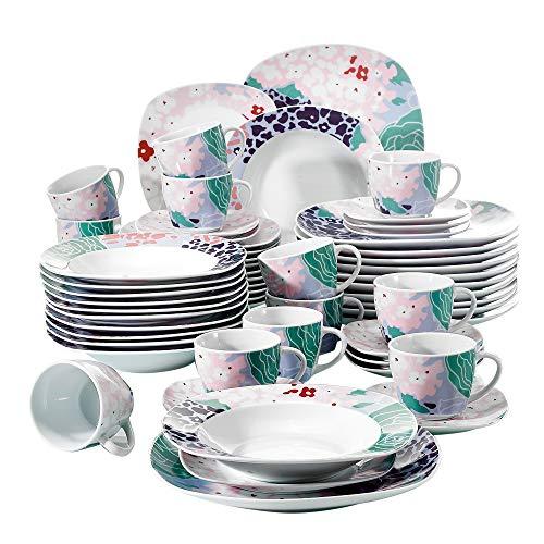 Veweet OLINA 60pcs Service de Table Porcelaine 12pcs Assiette Plate, Assiette à Dessert, Assiette Creuse, Tasse avec Soucoupes pour 12 Personnes Vaisselles Céramique Design Fleuri